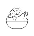 Wash fruits related thin line icon