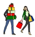 woman and man with shopping bag vector image vector image