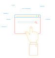 hand clicks on the web page vector image