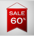 red pennant with inscription sale sixty percent vector image