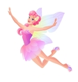 Cute flying fairy in pink petal dress with vector image