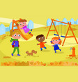 kids and teacher at the playground in autumn vector image