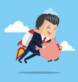 businessman flying jetpack with piggy vector image