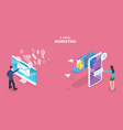 3d isometric flat concept mobile email vector image vector image