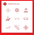 9 deck icons vector image vector image