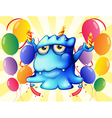 A blue monster balancing the candles in the middle vector image vector image