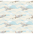 airplanes on cloudy background card vector image vector image