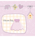 baby girl shower card with dress vector image