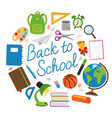 back to school circle with school supplies vector image vector image