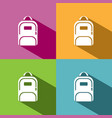 backpack icon with shadow on colored backgrounds vector image vector image