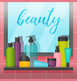 bathroom with mirror and colorful cosmetic bottles vector image