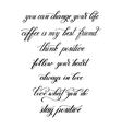 black and white handwritten positive quote set vector image vector image