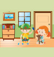 boy and girl playing toys in the room vector image vector image