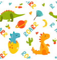 bright seamless pattern with cute dinosaurs vector image vector image