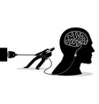 businessman trying to unplug brain vector image vector image