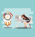 businesswoman with work time elements vector image