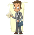 Cartoon cute postman with bag and vector image vector image