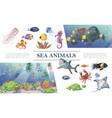 cartoon sea animals composition vector image