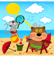 cat and mouse fool around with on beach vector image
