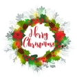 Christmas wreath with holly berry vector image vector image
