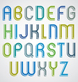 Colorful cartoon slim font rounded upper case vector image