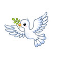 cute white dove with a twig in its beak flies on a vector image