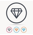 Diamond icon Jewelry gem sign vector image vector image