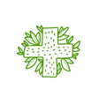 doodle medical cross and green leaves - logo vector image