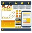 Flat design elements web buttons and icons vector image