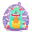 Funny smiling Halloween fluffy monster character vector image vector image
