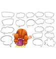 Girl and different shapes of speech bubbles vector image vector image