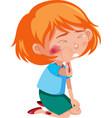 girl injured at cheek and arm cartoon character