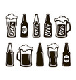 glass of beer ale lager mug bottle set of vector image vector image
