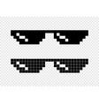 glasses pixel 8-bit on transparent background vector image
