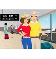 happy couple standing at the airport vector image vector image