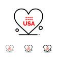 heart love american usa bold and thin black line vector image vector image
