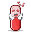 in love pill capsule cartoon character vector image