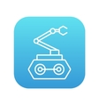 Industrial mechanical robot arm line icon vector image vector image