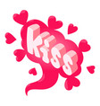 kiss speech bubble icon isometric style vector image vector image