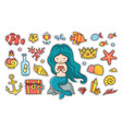 little mermaid with heart sitting on a rock set vector image vector image
