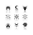 native american accessories drop shadow black vector image