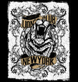 new york lion t-shirt graphic vector image vector image