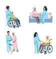 nurse caring for elderly set vector image vector image