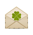 Old envelope with clover isolated on white vector image