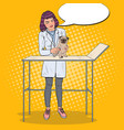 pop art female vet examining pug dog vector image vector image