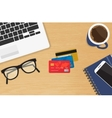 Realistic workplace with three credit cards vector image