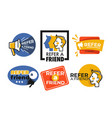 refer friend web button isolated icons megaphone vector image vector image