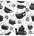 seamless pattern with cups kettle cookies vector image vector image
