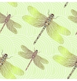 Seamless pattern with shiny dragonfly vector image