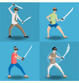 set of four men gaming in virtual reality vector image vector image